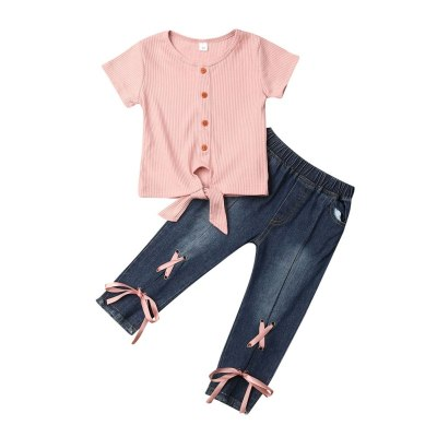 Toddler Girl Clothes Kid Child Baby Short Sleeve O-Neck T-Shirt +Denim Pants Outfit 2Pcs Set Costume Clothing 1-5Y