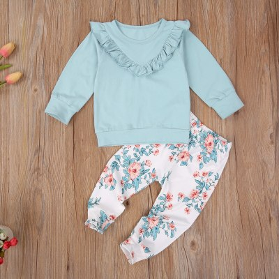 2020 Autumn Infant Kids Child Girl Clothes 2Pcs Set Outfits Casual Long Sleeve Round Neck Ruffle Pullover Top Floral Trousers