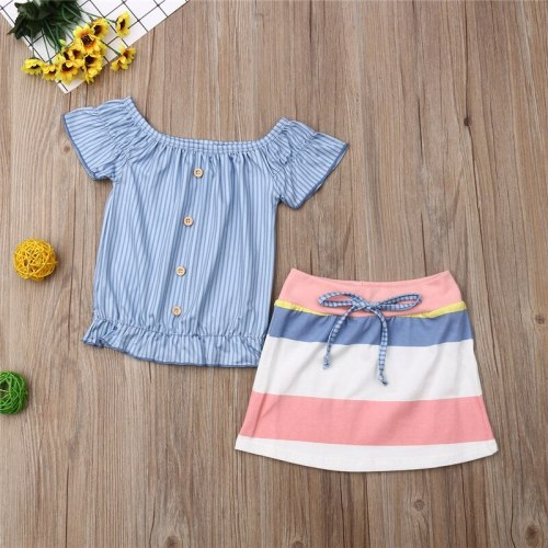 Newborn Toddler Kids Baby Girls Summer Striped Short Sleeve Button Tops Skirt Set 2Pcs Outfits Clothes Costume Clothing