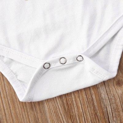 Summer Toddler Newborn Baby Girl 3PCS Suit Short Sleeve Letter Floral Print Jumpsuit Bodysuit Shorts Headband Set (0-18M)