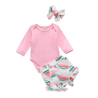 0-24M Baby Girl Clothes Set Toddler Infant Clothing Fall Autumn Long Sleeve Bodysuit Watermelon Shorts Headband 3PCs Outfits