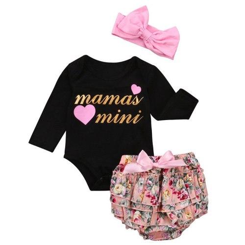 Newborn Baby Girls Clothes Set Jumpsuit Autumn Long Sleeve Black Bodysuit Floral Ruffle Shorts Pants Headband Girl Outfits 3PCs