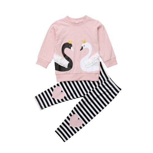 Toddler Baby Girls Clothes Set Autumn Long Sleeve Pink Swan Top T-shirt Pants Lace Ruffle Tracksuit Girl Clothing Outfit 2PCs