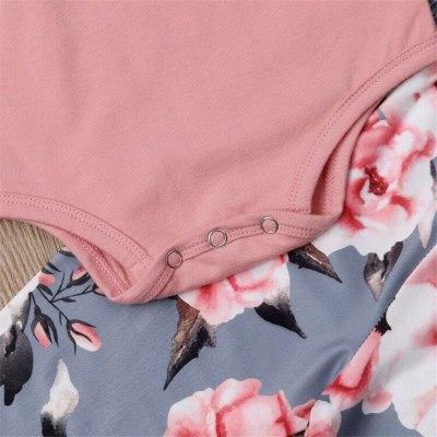 Flowers Round Neck Tops Pants Headband Outfits Fashion Pink Print Autumn Girls 3Pcs Children Newborn Kids Baby Girls Clthes Set
