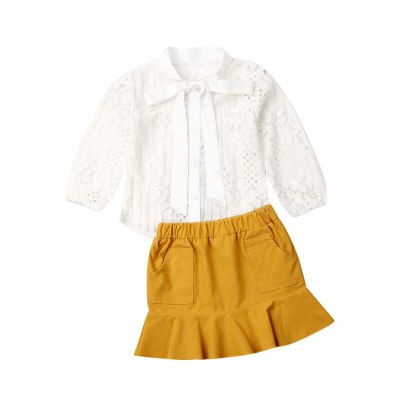 Toddler Girl Clothes Infant Kid Child Baby Autumn Long Sleeve Lace Bowknot Tie Shirt+Skirt Outfit 2Pcs Set Costume Clothing