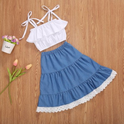 2Pcs Girl Summer Fashion Dress Suits White Strap Sling Backless Tank Top+Blue Full Tiered Denim Skirt for 2-7 Years