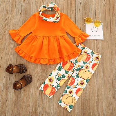 2020 Halloween Autumn Fall Kids Baby Girl Orange Clothes Set Long Sleeve Top Dress Pumpkin Pants Scarf OutfitsToddler Infant