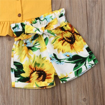 Infant Newborn Toddler Kids Baby Girls Summer Cotton Sleeveless Tops Floral Shorts 2Pcs Clothes Set Outfits Costume Clothing