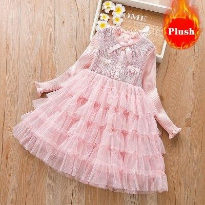 Toddler Girl Winter Clothes Baby Christmas Dress Kids Clothing Knitting Dress For Girls Pink Lolita Dress Girls Designer Clothes
