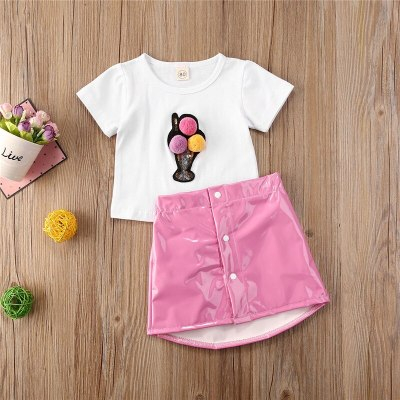 Summer Fashion Toddler Kid Baby Girls Cotton Hairball Print Tops T-shirt+Pink PU Leather Skirts Outfit Clothes Set 1-5Y