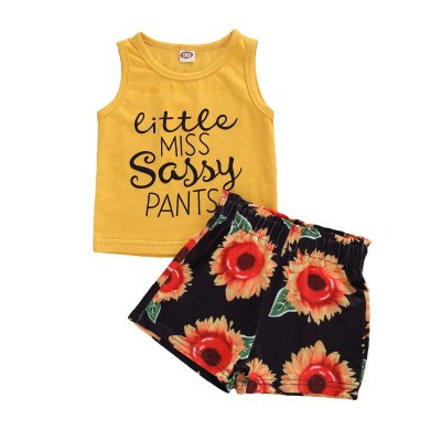 Summer Toddler Infant Kids Girl Clothes Set Yellow Sleeveless Letter Vest Sunflower Shorts Outfits Clothing Cute Sweet 2PCs