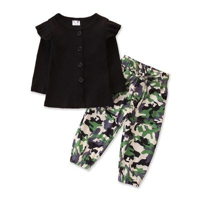 Autumn Fall Girl 2PCs Clothes Set Child Kids Ruffle Long Sleeve Buttons Round Neck T-shirt Camo Pants Clothing Outfits