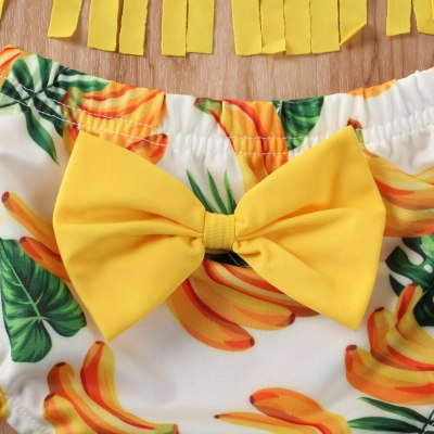 Summer Kids Baby Girl Swimwear Bikini Beach Suit Tassel Sleeveless Tops  Print Shorts  Swimsuit