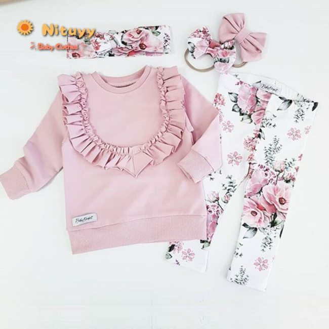 Baby Girls Clothes 3Pcs Floral Flower Pink Outfit Ruffle Long Sleeve Tops Pants Trousers Headband