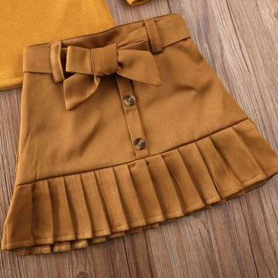 Auutmn Winter Warm Toddler Baby Girls Fashion Suit Ruffle Tops T-shirt+Tutu Skirt Bow-knot Cotton Outfits Set Clothes 1-6T