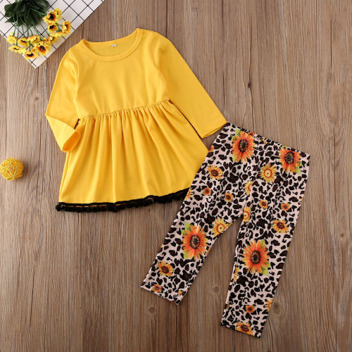 2Pcs Childern Toddler Kids Baby Girl Suit Set Autumn Clothes O-Neck Yellow Long Sleeve T-shirt Tops Leopard Leggings Pants