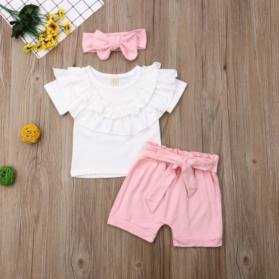 Kids Baby Infant Girl Summer Short-sleeve Suit Round-neck T-Shirt Tops+Bow-knot Pink Short Short Pants+Headband Party Outfits