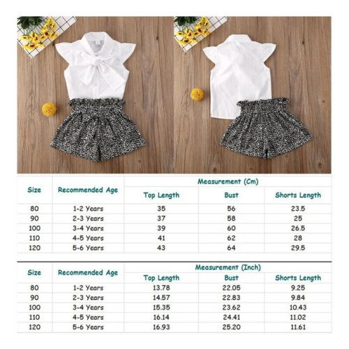2020 New Spring Toddler Kids Baby Girls Ruffle Short Sleeve Bow T-shirt Top Leopard Shorts Outfits Clothes Sets Outfit Costume