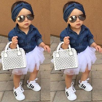 Toddler Kids Baby Girl Clothes Set Cute Girls Demin Tops Shirt Tutu Skirts Ruffles Cute Party 3pcs Outfits Clothing Set