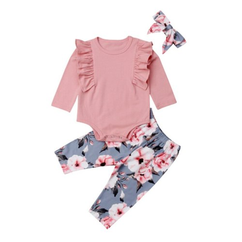 Flowers Round Neck Tops Pants Headband Outfits Fashion Pink Print Autumn Girls 3Pcs Children Newborn Kids Baby Girls Clthes Set
