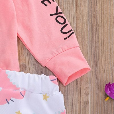 Toddler Infant Newborn Baby Girls Clothes Set  Monster Cartoon Dinosaur Print Long Sleeve Top Pants 2PCs Outfits Clothing