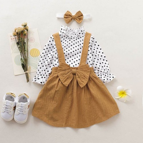 Baby Girl Clothes Set Dress Autumn Toddler Kids Polka Long Sleeve Suspender skirt+Headbandop+ 3pcs Suit 1-4T Children Clothing