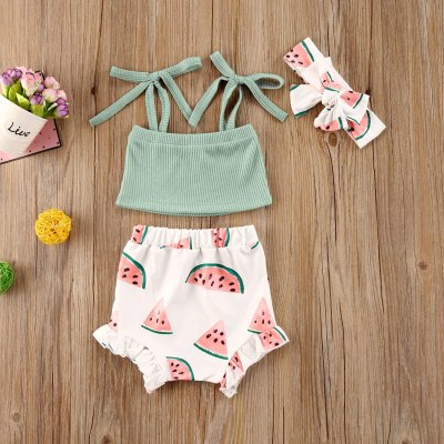 Summer  0-24M Toddler Infant Baby Girl Clothes Set Watermelon Sleeveless Crop Top Shorts Headband 3PCs Outfits Clothing