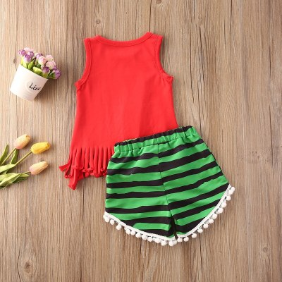 Summer 1-6T Toddler Kids Girl Watermelon Clothes Set Outfits Sleeveless Red Letter Vest Tassel Shorts Casual Clothing 2PCs