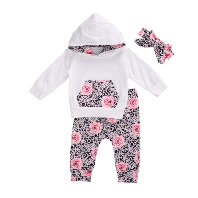 Baby Girl Autumn Long Sleeve Hooded Sweatshirt 3pcs Suit White Hooded Top+Flower Printed Trousers+Bow Headband Spring