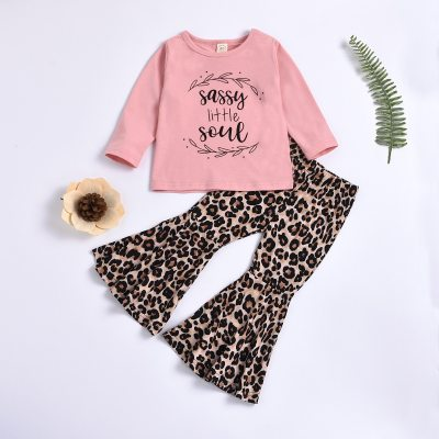 Children Girl Long-sleeved Trousers Suit Letter Print Round Neck T-shirt Pullover+Leopard Elastic Trumpet Pants Spring Fall
