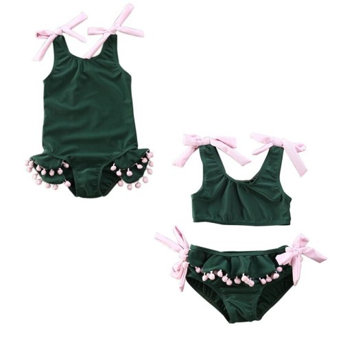 Summer Toddler Baby Girl Swimwear Bandage Bow Sleeveless Green Beach Wear Swimsuit Beachwear Bathing Suit Bikini Set Tassel