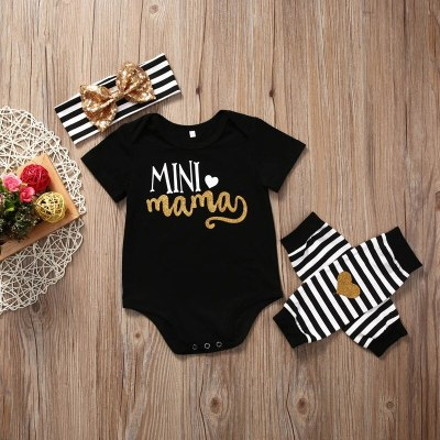 0-18M Able Baby Girl Clothes Set 3PCS Newborn Infant Christmas Clothes Short Sleeve Romper+Leg Warmer+Headband Outfit Set