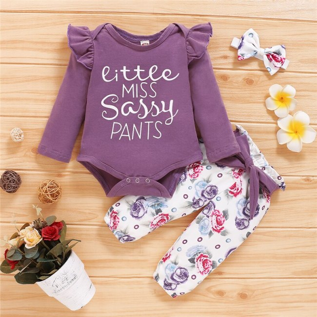 2020 Newborn Baby Girls Clothes Set Floral Pants Purple Letter Print Romper Headband 3Pcs Autumn Toddler Infant Clothing Outfits