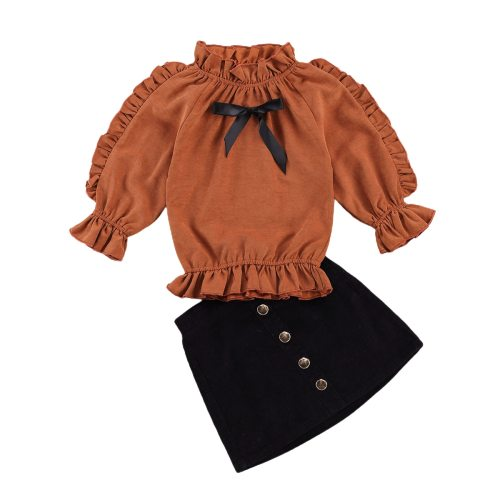 Baby Inant Girl Long-sleeve Outfit Stand-up Collar Elastic Lace Bowknot Top+Corduroy Wrapped Skirt Metal Buttons Half Dress