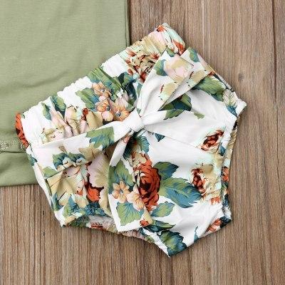 Children Toddler Newborn Infant Girls Clothes Set Ruffle Sleeveless Bodysuit Green Floral Shorts Headband Clothing 3PCs