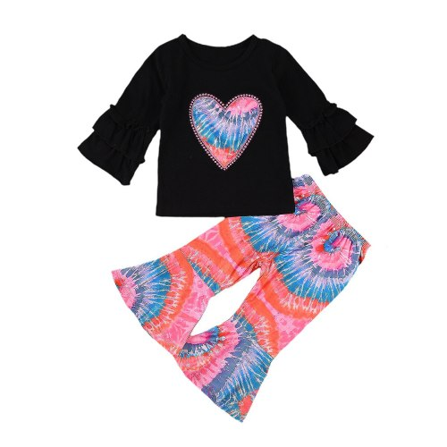 Autumn Kid Child Girl Clothes Set Toddler Infant Ruffle Long Sleeve Heart T-shirt+Tie Dye Pants Clothing Outfits 2PCs