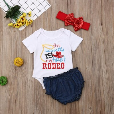 July 4th Newborn Infant Toddler Baby Girl Clothes Short Sleeve Tops Shorts Headband Set 3Pcs Outfit Clothes Costume Clothing