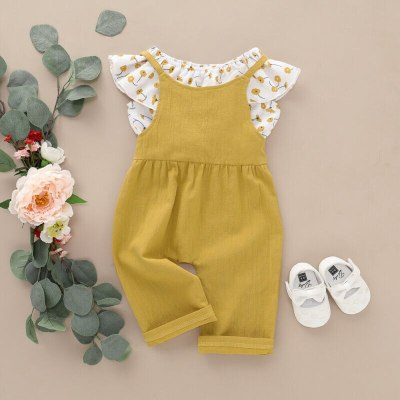 2PCS Spring Newborn Baby Girl Cloth Sweet Sleeveless Floral Flower Romper Tops Jumpsuit Pants Outfits Set