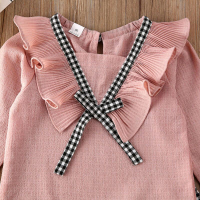 Toddler Baby Girl Ruffle Cute Tops Plaids Pants Leggings 2Pcs Outfits Suit Clothes Clothing