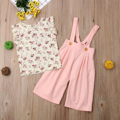 Newest Fashion Toddler Baby Girl Clothes Sleeveless Flower Print Tops Strap Long Pants 2Pcs Outfits Cotton Clothes