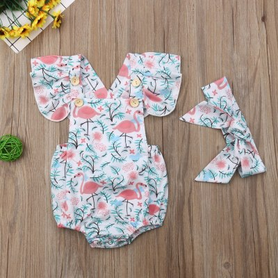 Newborn Baby Girls Flamingo Print Jumpsuit Bodysuit Infant Headband Clothes Outfits Sets