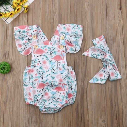 Newborn Baby Girls Flamingo Print Jumpsuit Bodysuit Infant Headband Clothes Outfits Sets