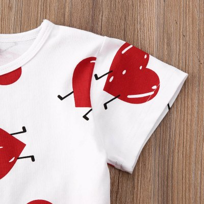 Toddler Baby Girl Clothes Valentine Love Peach Heart Print T-Shirt Tops Leather Skirt 2Pcs Outfits Clothes