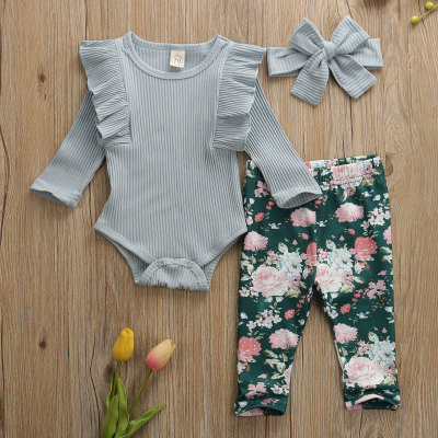 Newborn Baby Girl Clothes Solid Color Knitted Cotton Romper Tops Flower Print Long Pants Headband 3Pcs Outfits Clothes