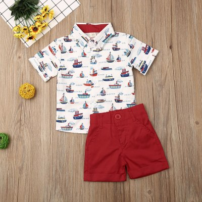 Summer Toddler Baby Boy Clothes Sailboat Print Short Sleeve Shirt Tops Short Pants 2Pcs Outfits Formal Clothes