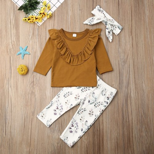 Autumn Winter Newborn Baby Girl Clothes Solid Color Ruffle T-Shirt Tops Flower Print Long Pants Headband 3Pcs Outfits