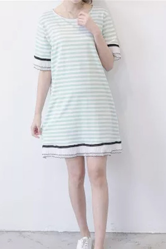 Summer Clothes For Women Plus-Size Striped Lace Long T-shirt Pregnant women Dress Short Sleeve Maternity Dress