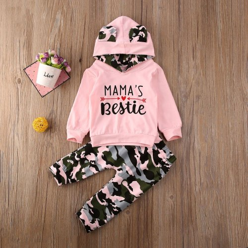 Newborn Baby Girl Clothes Letter Camouflage Long Sleeve Hooded Tops Long Pants 2Pcs Outfits Cotton Clothes Tracksuit