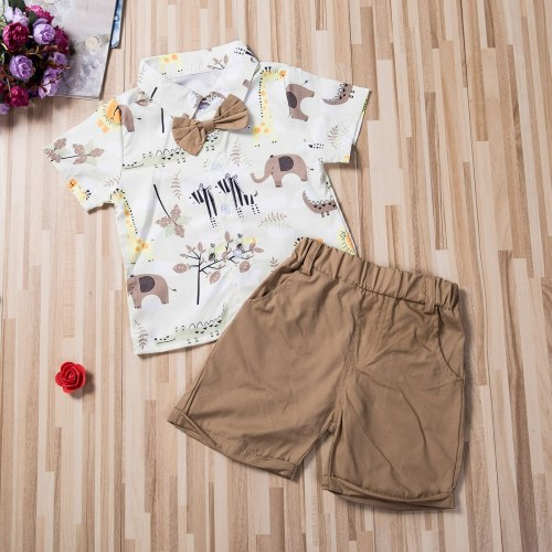 Toddler Baby Boy Clothes Cartoon Animals Print Short Sleeve Shirt Tops Short Pants 2Pcs Outfits Cotton Clothes