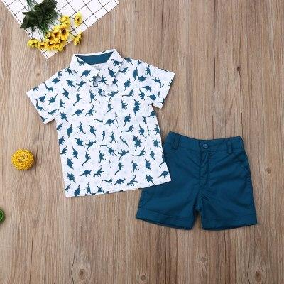 Summer Toddler Baby Boy Clothes Dinosaur Print Shirt Tops Short Pants 2Pcs Outfits Casual Clothes Summer
